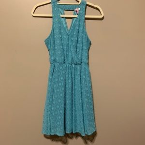 Teal, double layer dress.